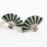 Vintage Sterling Silver Green & White Enamel Clip On Fan Earrings - Siamese Hallmarked Sena Sterling Silver Jewelry