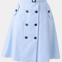 London Calling Button-Up Skirt In Light Blue