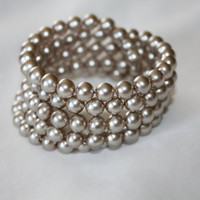 Vintage Pearl Bracelet Wire Wrap 1940s Jewelry Wedding Bridal