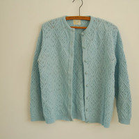light blue knit cardigan - 60s vintage pointelle button up sweater - long sleeves - small / medium