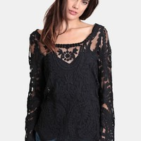 Over The Edge Crochet Top In Black