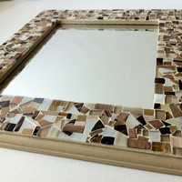 Mosaic Wall Mirror Mosaic Wall Art Browns by GreenStreetMosaics