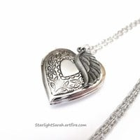 Heart Locket Necklace with Angel Wing for Remembering a Loved One | StarlightSarah - Jewelry on ArtFire