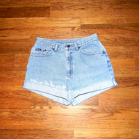 Vintage Denim Cut Offs - 80s Ultra Light Stone Washed Jean Shorts - High Waisted Cut Off/Frayed/Rolled up/Distressed LEE Shorts Size 14