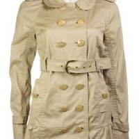Juicy Couture Women's Skirted Double Breasted Trench Coat w/Belt, Small