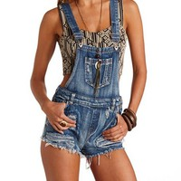 Cut-Off Destroyed Denim Shortalls