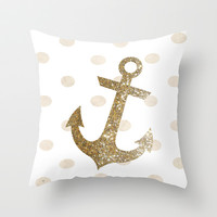 GLITTER ANCHOR IN GOLD WITH DOTS Throw Pillow by colorstudio