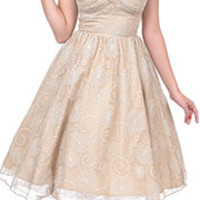 Stop Staring! 1950s Style Taupe Lace Darla Swing Dress