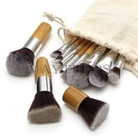 11 pcs Wood Handle Makeup Cosmetic Eyeshadow Foundation Concealer Brush Set Pouch