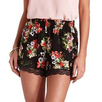 LACE-TRIMMED FLORAL PRINT HIGH-WAISTED SHORTS