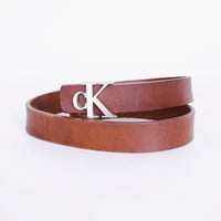Calvin Klein Belt Buckle Silver CK Logo Brown Leather Belt Distressed Leather Skinny Belt 90s Belt 90s Grunge Belt Womens S Small 26 27 28