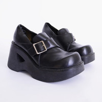 Black Faux Leather Oxford Monk Strap Buckle Chunky Heel Shoe Platform Heel Cut Out Heel 90s Shoe 90s Grunge Shoe 90s Club Kid Shoe Womens 6