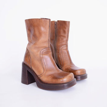 Steve Madden Boot Brown Boot Brown Leather Boot Platform Boot Platform Heel Boot Chunky Boot Chunky Heel 90s Boot 90s Grunge Boot Women 5.5