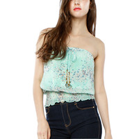 Papaya Clothing Online :: FLORAL WAIST BAND CHIFFON TOP