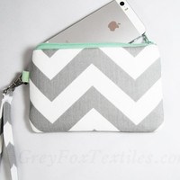 Chevron wristlet in gray and mint green, clutch, iPhone sleeve, smartphone wallet, camera case