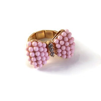 Pink and Gold Bow Tie Ring