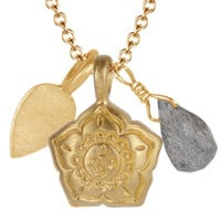 10K Gold Om Flower Trinket Pendant with Labradorite - | Me&Ro Jewelry