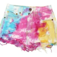High Waist Rainbow MARBLED Dyed Denim Cut Off Shorts