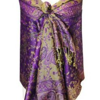 Elegant Purple Reversible Paisley Pashmina Silk Shawl Wrap