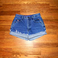 Vintage Denim Cut Offs - 90s Stone Wash/Acid Washed Jean Shorts - Cut Off/Frayed/Distressed/High Waist Shorts by Posted - Size 7/8