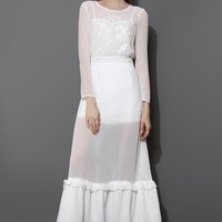 Romantic White Chiffon Maxi Tiered Dress