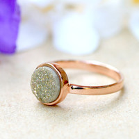Champagne,Quartz Ring,Druzy Ring,Rose Gold,Agate Ring,Geode Ring,Gold Ring,Gemstone,Stacking ring,Delicate ring,Drusy ring,Mother ring