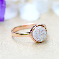 White,Druzy Ring,Rose Gold,Quartz Ring,Agate Ring,Geode Ring,Gold Ring,Gemstone,Stacking ring,Delicate ring,Drusy ring,Mother ring,silver