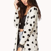 Open-Front Polka Dot Cardigan