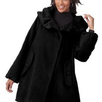 Fashionable wool-blend A-line jacket