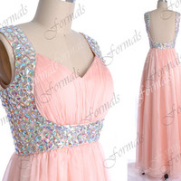 Pink Prom Dress, Pink Formal Dresses, Straps with Sequined Chiffon Long Prom Gown, Formal Dresses, Pink Chiffon Gown