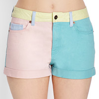 Colorblocked Denim Shorts