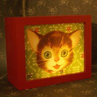 HAPPY CAT lightbox by bixreedhandmade on Etsy