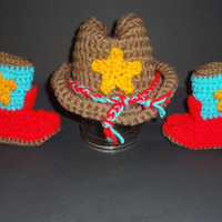 Handmade Multicolor Crochet Newborn-3 Month Baby Cowboy Hat & Boots Photo Prop Set Gift Keepsake