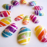 Rainbow Candy Striped Nail Art butterflies neon by saburkitty