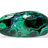Green Malachite Bulls eyes with Blue Chrysocolla Polished View Touch Stone