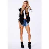 Missguided - Lenica Bomber Jacket With Contrast Sleeves In Black