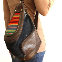 Vintage Leather Textile Bag Backpack Aztec by sweetllamasupplies