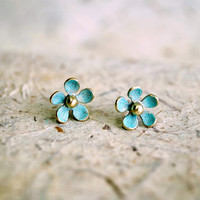 BLUE DAISY STUD earrings , patina blue earrings , Easter earrings , tiny stud earrings , statement stud earrings , bridemaid earrings
