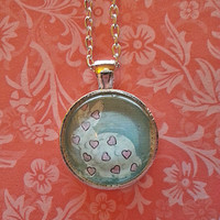 Bunny Rabbit and hearts glass dome necklace for tween or teen girl