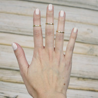 Set of 3 Texturized Knuckle Rings - Gold