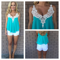 Flowy Crochet Top - TEAL