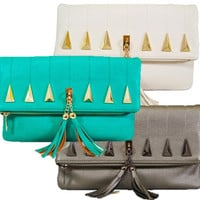 Studded Tassel Foldover Clutch - Cream, Pewter or Turquoise
