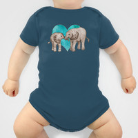 Baby Elephant Love - sepia on watercolor teal Onesuit by Perrin Le Feuvre | Society6
