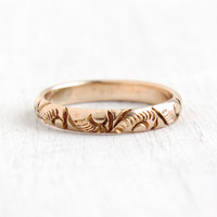 Antique 10K Yellow Gold Baby Ring- Art Deco 1930s Size 2 1/4 Tiny Midi Flower OB Ostby & Barton Jewelry