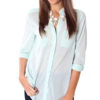 Sheer Mint Pocket Blouse
