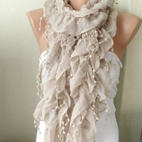 Beige Color Ruffle Scarf from 100 coton with pompom lace by Periay