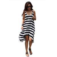 Waltzmart Women's Stripe Asymmetric Long Vest Sundress