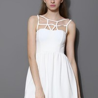 White Caged Skater Dress