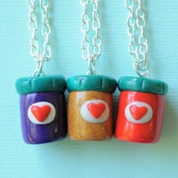 Handmade Three-Way Peanut Butter and Jelly Jars Best Friend Necklaces
