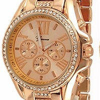 Rose Gold Crystal Womens Geneva Watch Fashion Designer